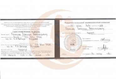 Удостоверение о присвоении квалификации врача хирурга, 2010 г.