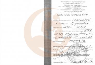 """Удостоверение, Интернатура по специальности """"терапия"""", 2009 г."""