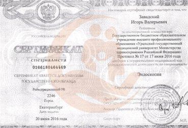Сертификат Уральский государственный медицинский университет, Эндоскопия, 2016 г.